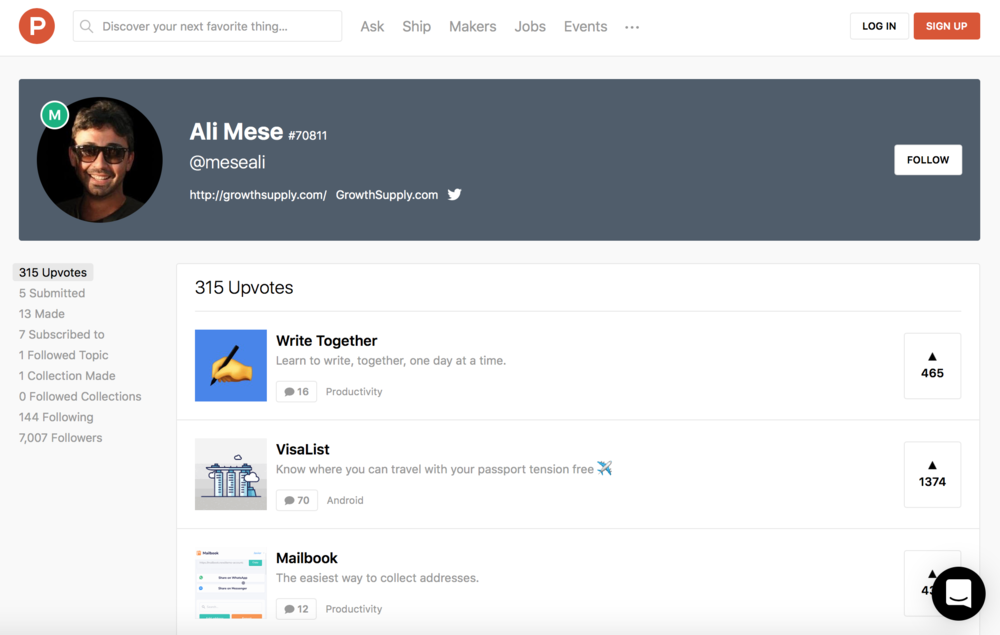 Ali Mese Software Makers on ProductHunt