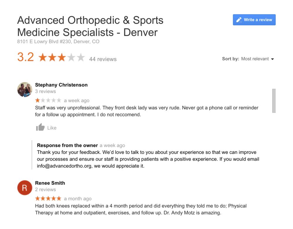 Orthopedic marketing strategy for reputation management