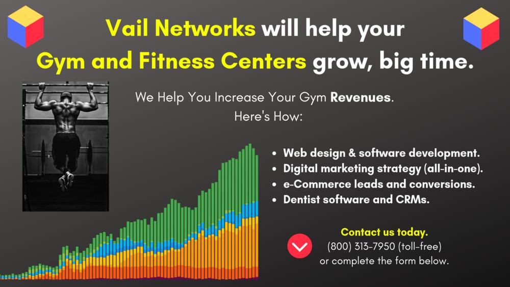 Company to help with gym and fitness center marketing, SEO and website development: vailnetworks.com