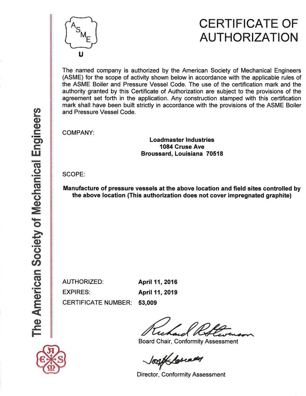 ASME Certificate of Authorization - Pressure Vessels.jpg