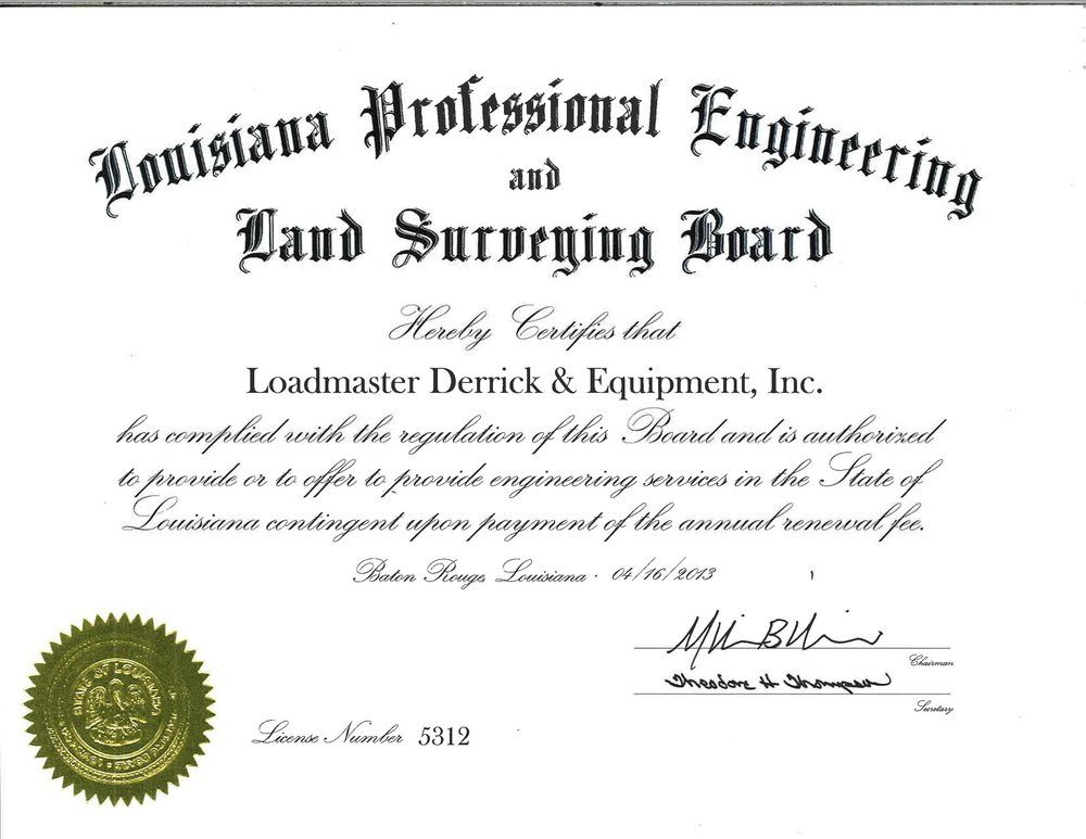 Louisiana Professional Engineering Certificate.jpg