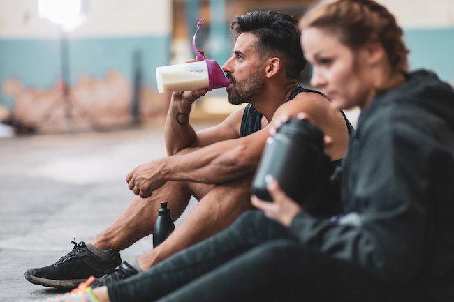 Drinking Protein Shake at Gym