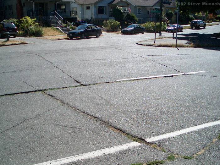 Reflection Cracks - Cracks in asphalt overlays (usually over deteriorated PCC pavements) that reflect the crack pattern in the pavement structure below it.