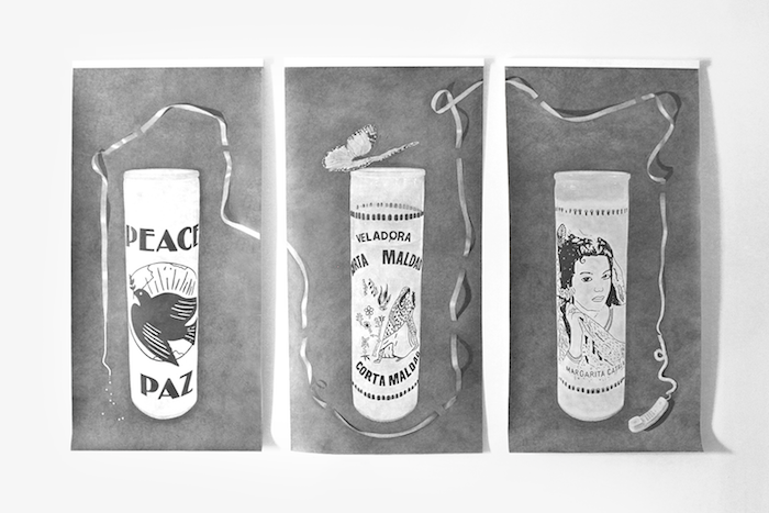 """Ashley Thomas,  Candles , 2018, graphite on paper, Triptych, 113.5"""" X 69"""""""