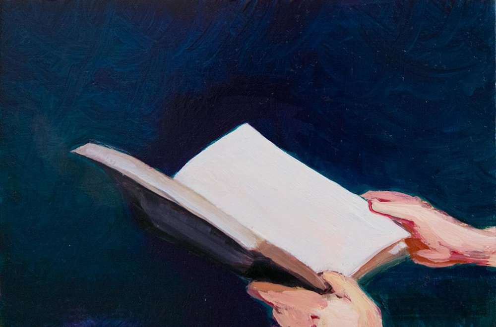 Luisa Jacinto,  Read , 2016, oil on wood, 10 x 15 cm