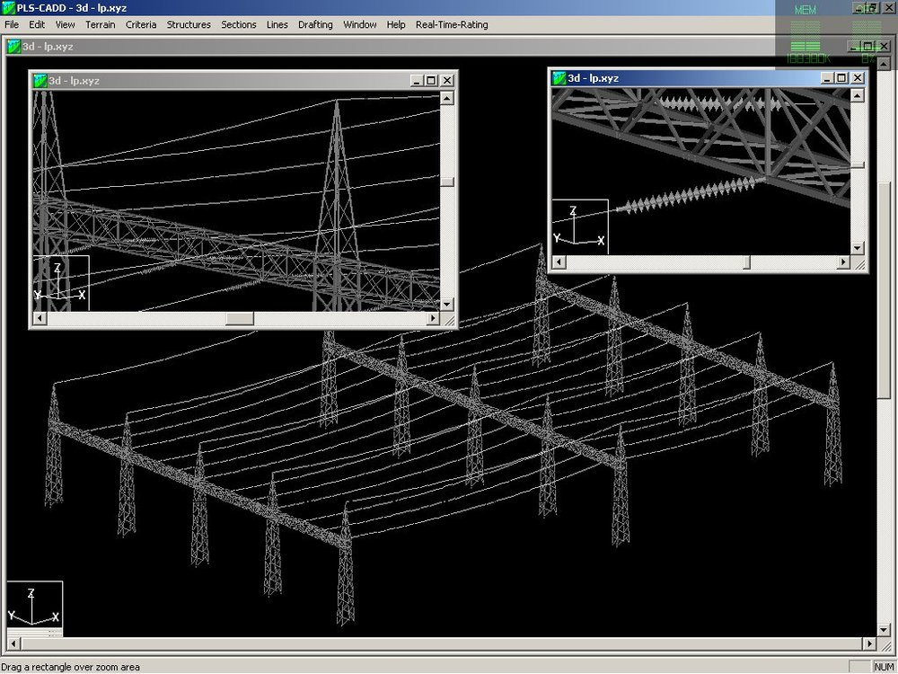 Model with three gantry structures developed in TOWER and then strung together in PLS-CADD. Example courtesy of Mike Dube of New Brunswick Power Corp.
