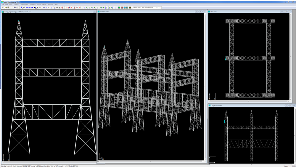 Substation modeled in TOWER for evaluation of loading from new microwave antennas. Example courtesy of Adam Kirk of Hardy Engineering.