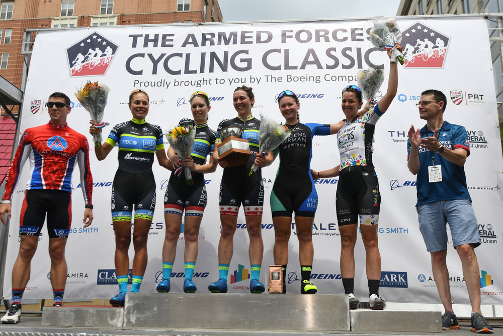 2018 Armed Forces Cycling Classic Clarendon Cup Women's Awards Podium.
