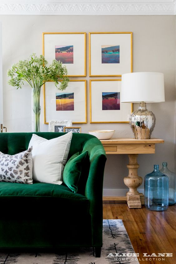Emerald Green Velvet Sofa in the Historic Ivy Flat | Designed by Alice Lane