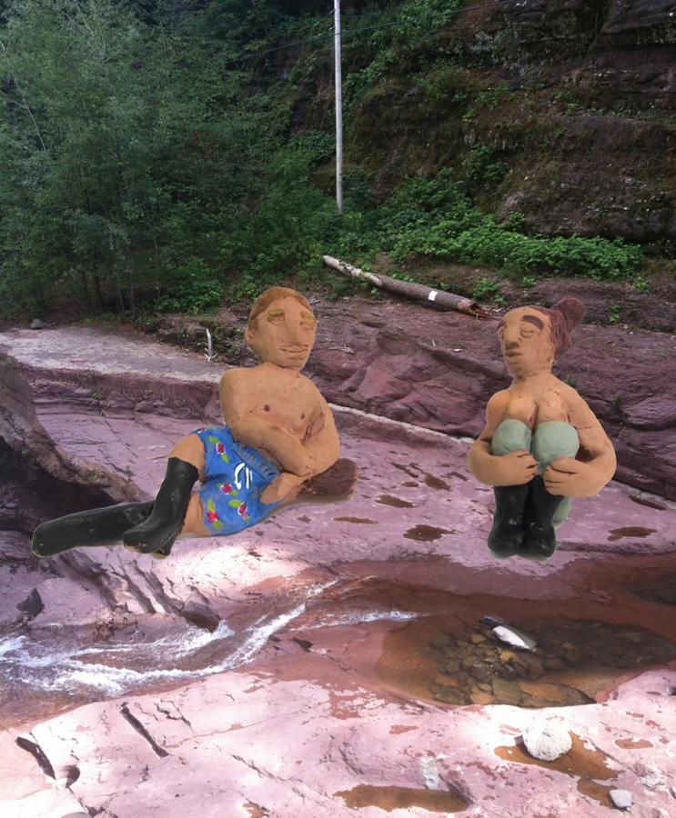 River Couple  Enamel on Bronze  12.5' x4.65' x6.6' Fawn's Leap , NY  2012.jpg
