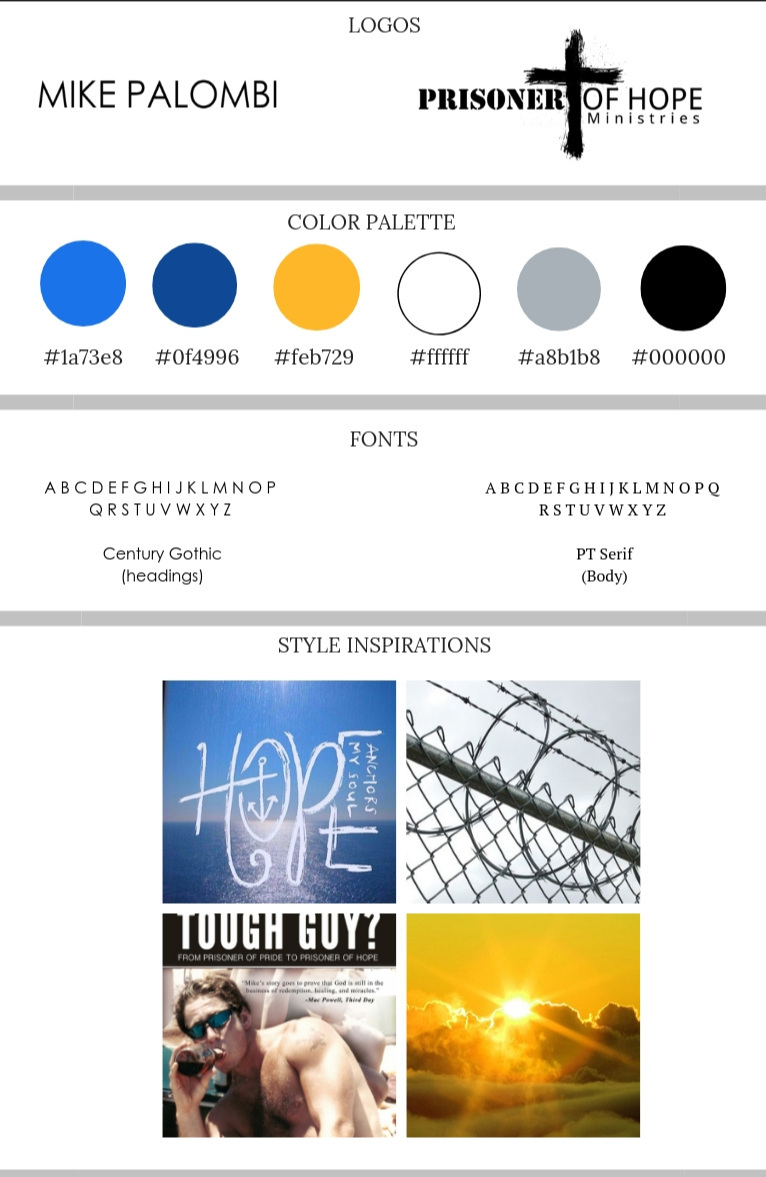 Prisoner of Hope Ministries and Author Mike Palombi Mood and Brand Board