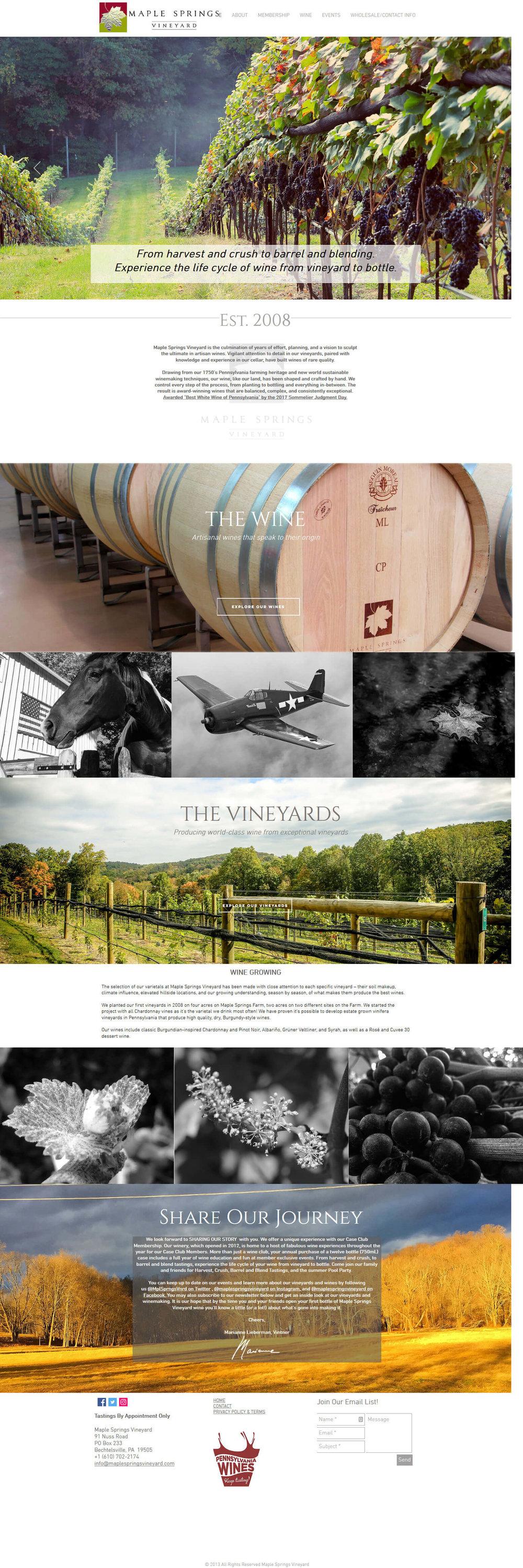 Maple Springs Vineyard winery website design