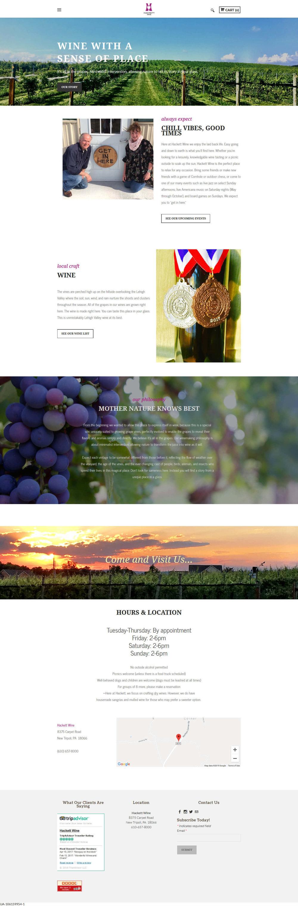 Hackett Wine vineyard and winery website design