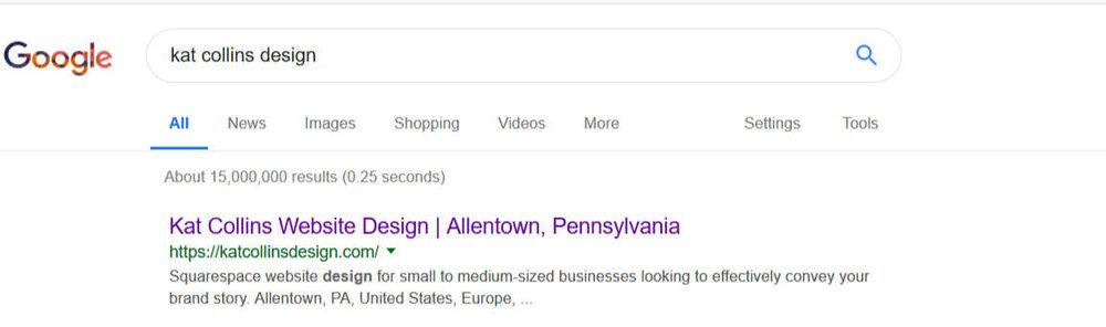 Kat Collins Design Google search listing using SEO