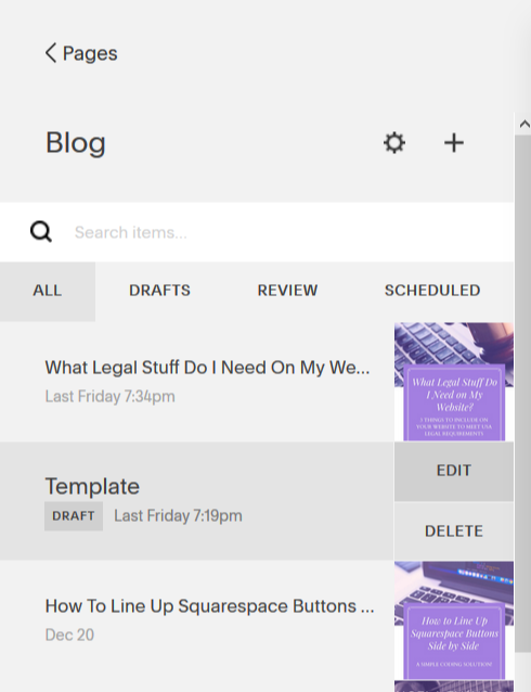 How to edit a blog post template in Squarespace