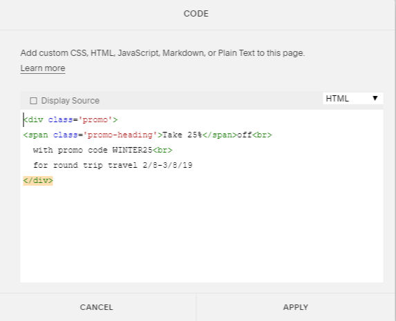 Promo text box HTML how to customize a text box in Squarespace