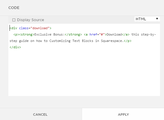 Download text box HTML customizing text box in Squarespace.