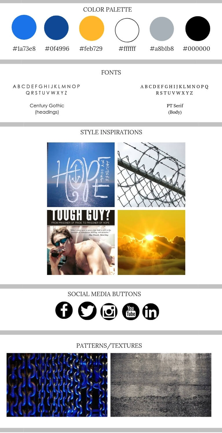 Mike Palombi author and prisoner of hope ministries mood board.