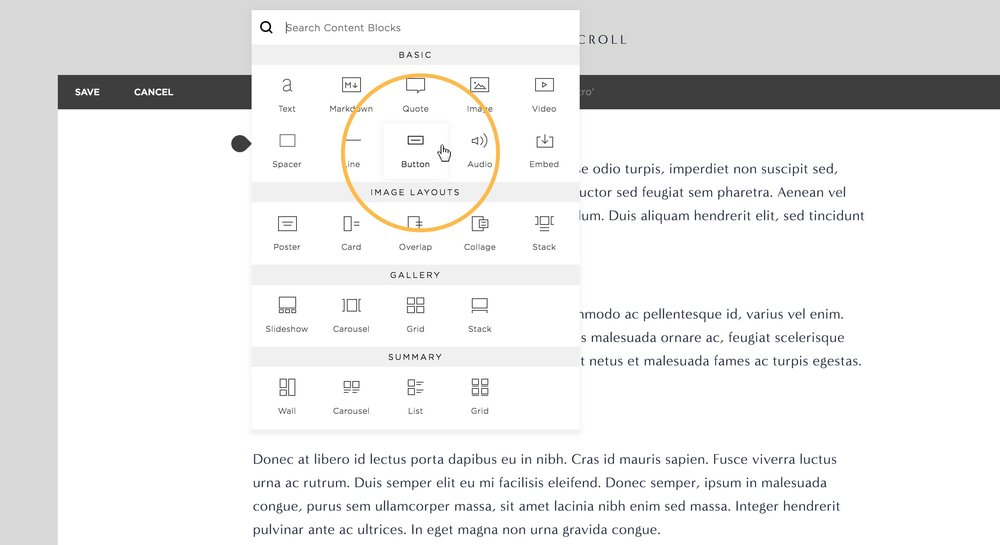 How to add a button to your content in Squarespace.