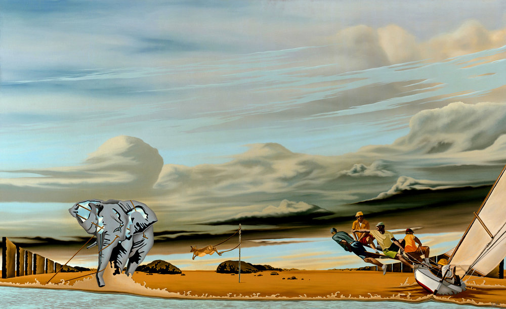 "5.    THE ILLUSION OF FREEDOM    1975, 53"" x 33"", Oil on Canvas - SOLD - Private Collection    An elephant restrained, a gazelle tethered to a pole and sailors catching the wind. In their own way, each has felt a sense of freedom but regardless of how hard they struggle or how fast they run, they will forever be nature's captive."