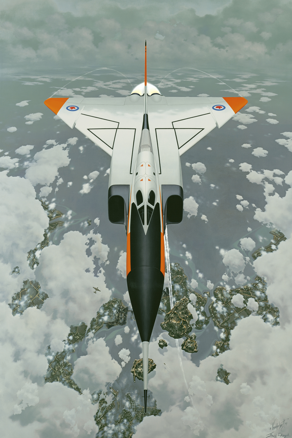 "11.    THE AVRO ARROW    1991, 24"" x 38"", Oil on Canvas. National Aviation Museum, Ottawa, Canada - Permanent art collection.    The Arrow is performing an inverted loop and the unusual perspective was designed to give the viewer a heightened sense of the maneuver. Directly below and to the right of the nose cone you will find several floating segments of land and a small boat floating above the clouds (the contrail passes beneath the largest piece of land). This was done to depict a sense of disorientation - the same experience a pilot may have executing such a maneuver."
