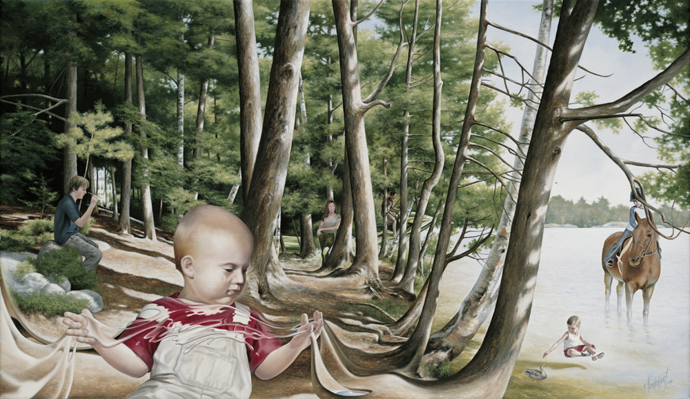 "24.    IMAGINE    2004, 24"" x 14"", Oil on Canvas - SOLD - Private Collection    The theme is one of exploration. The baby is presented as the focal point introducing the concept that with a fervid imagination anything is possible. As he spreads his hands apart, the landscape becomes fluid. There are no boundaries in his young mind to restrict the experience. Each family member is captured in their own world or watching the experiences of the others unfold."