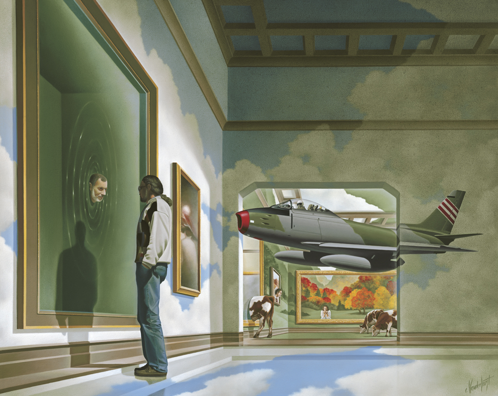 "36.    VIEW FROM THE GALLERY - Part Two    1995, 20"" x 16"", Oil on Canvas - SOLD - Private Collection.    As his head emerges from the canvas, the art patron is confronted by the artist and his imagination. The patron is relaxed, takes time to absorb the surroundings and enjoys what he sees. As a result, he becomes comfortable with the other side and now knows that he can arrive and return whenever he wishes."