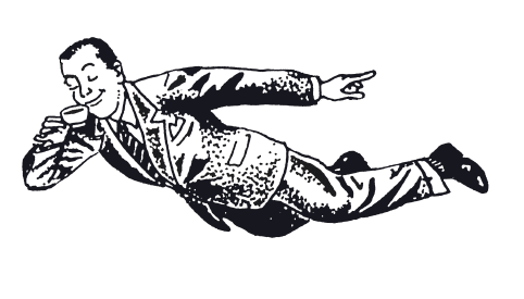 "Our mascot the ""Flying Man,"" commissioned for Orens, illustrated by    Ken Brown    in 1986."