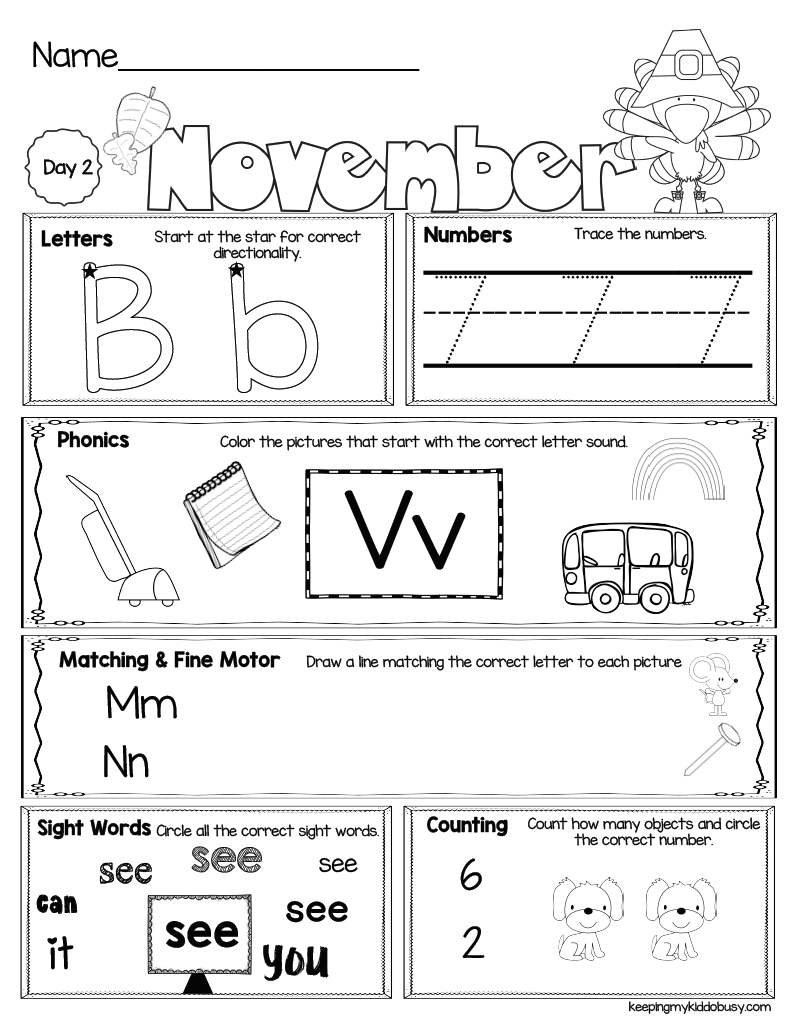 November Seat Work for Kindergarten - FREE WEEK — Keeping My ...