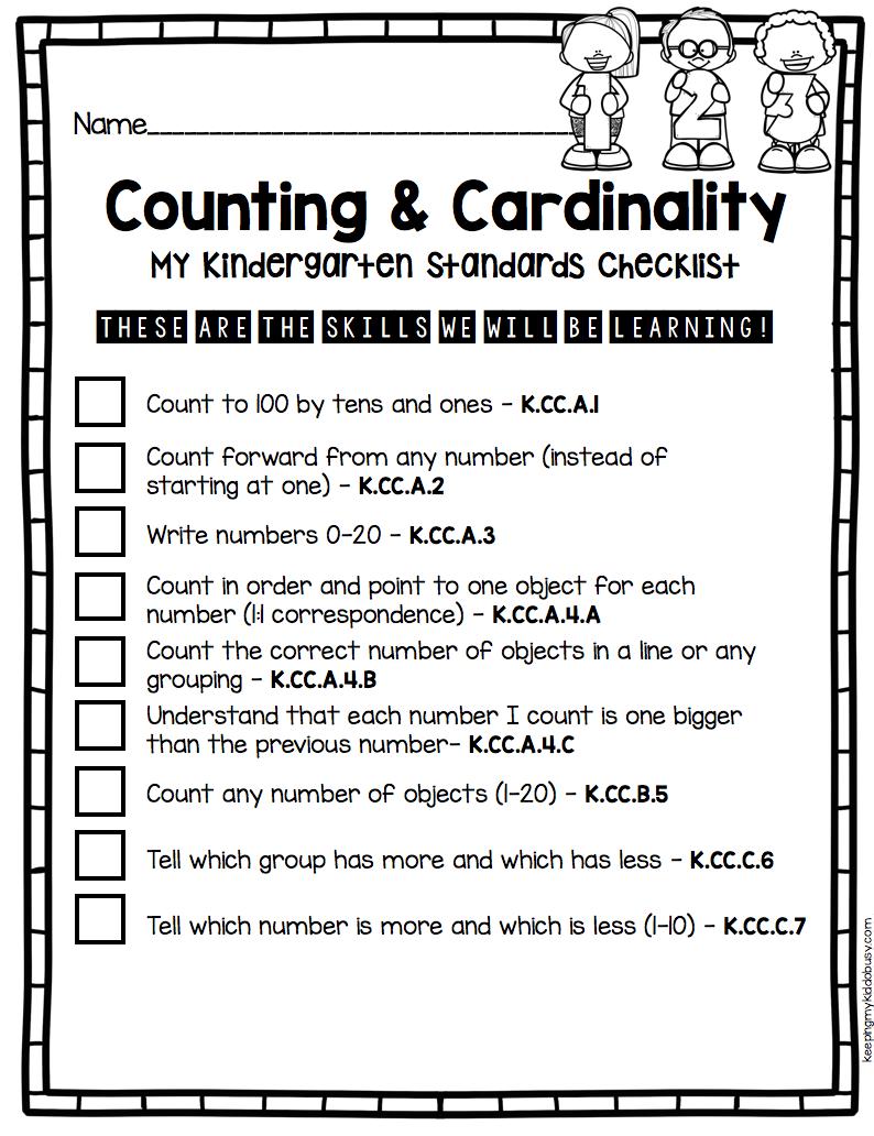 Kindergarten Standards - I Can Statements - FREEBIES — Keeping My