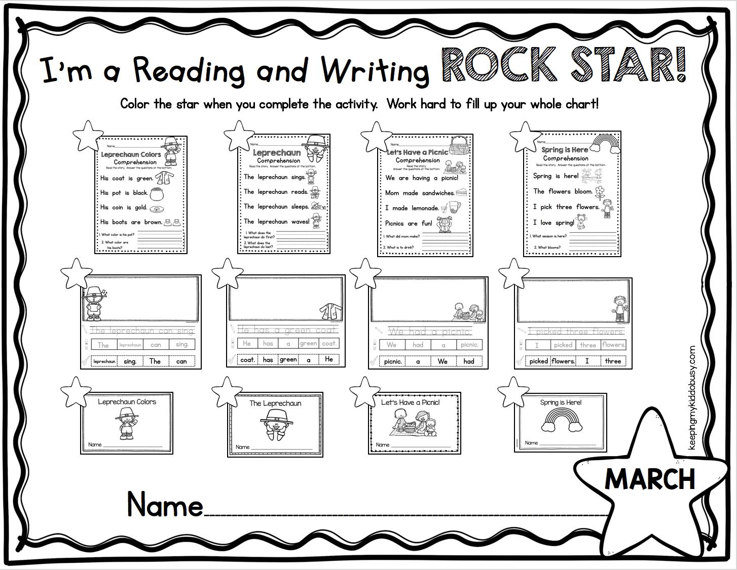 Reading Writing Rock Stars April Freebies Keeping My Kiddo Busy