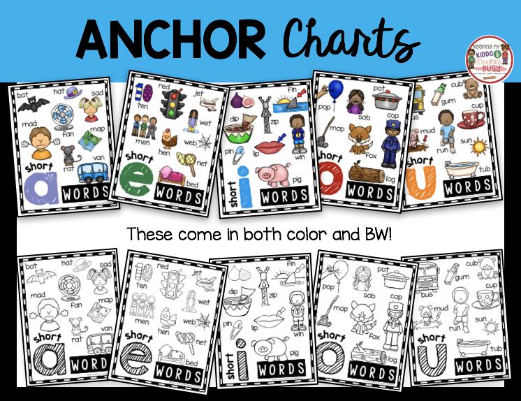CVC short vowel anchor charts