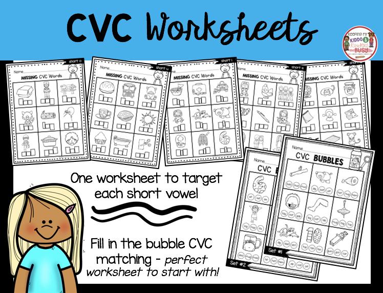 CVC worksheets free matching short vowel words