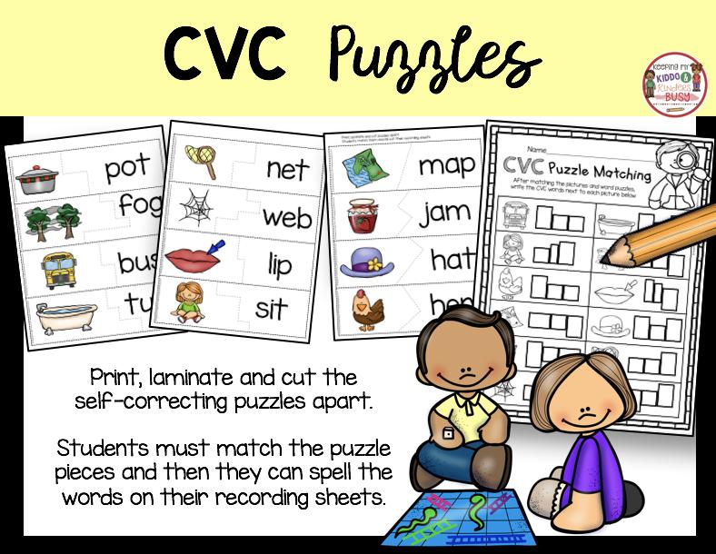 cvc puzzles literacy station