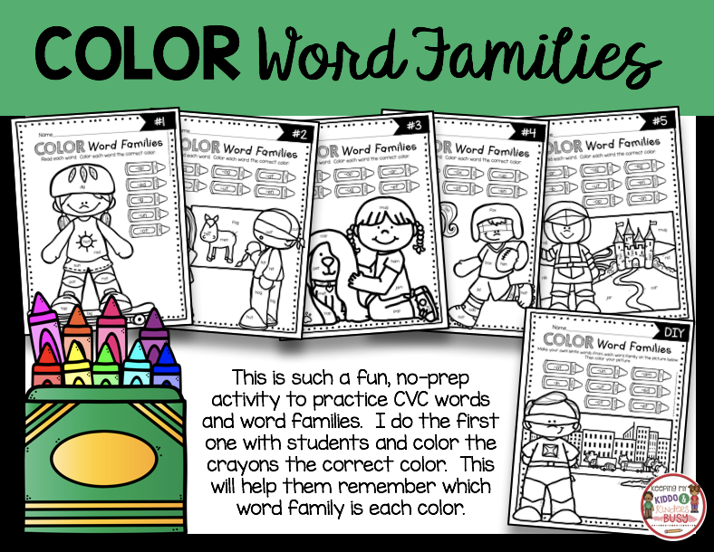 Color word families and CVC words printables