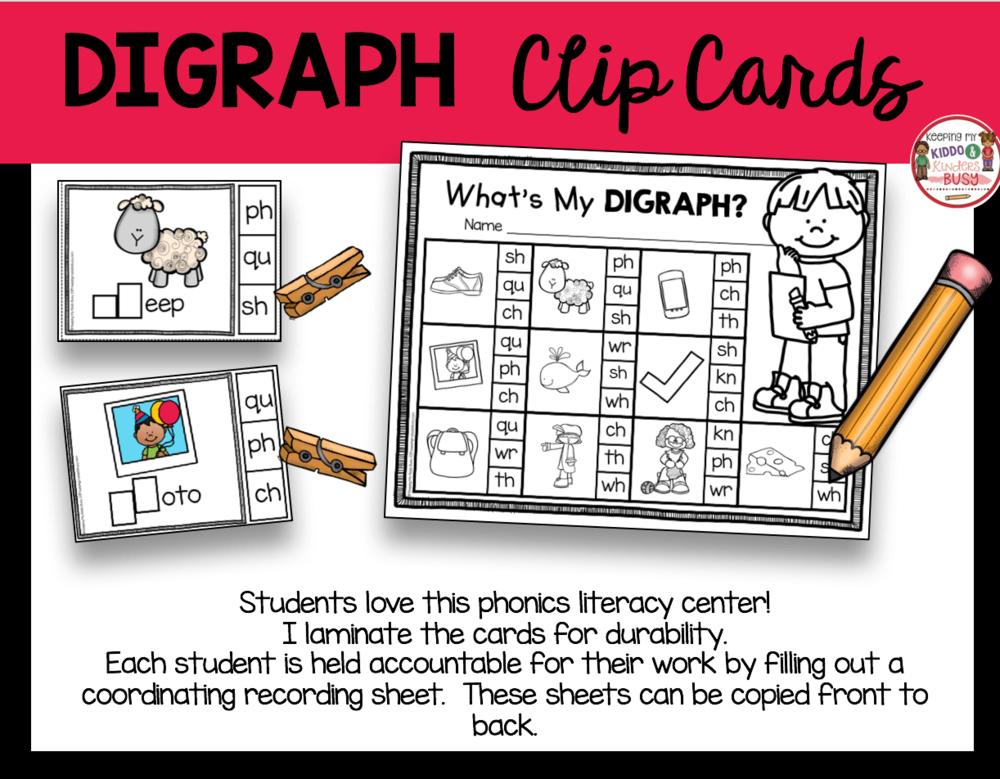 digraph literacy center first grade