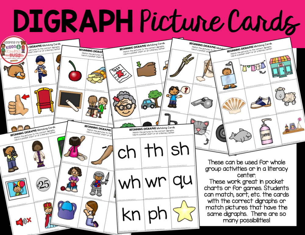 digraph picture cards for pocket chart first grade phonics lesson