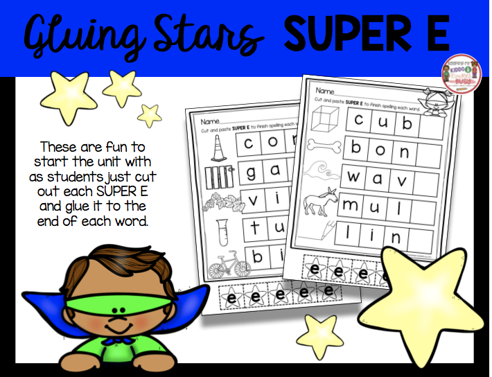 cute and paste long e worksheets