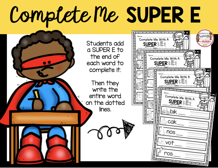 complete me with silent e writing worksheet