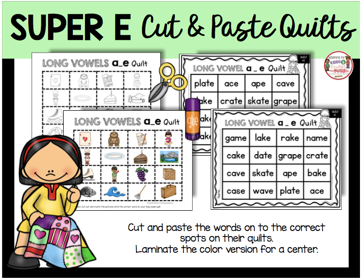 long vowel cut and paste literacy center