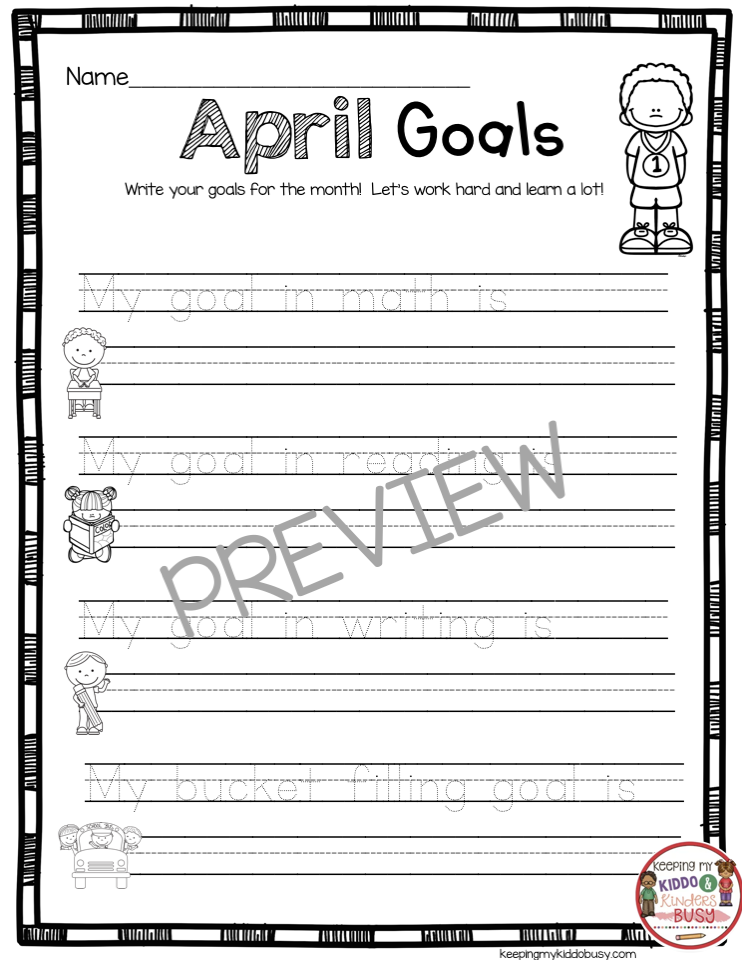 april goal setting for kindergarten bucket filling