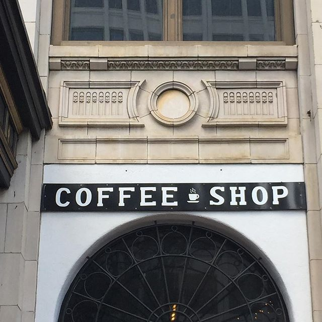 Coffee Shop. Downtown #richmond #fonts #architecture #lettering #facade