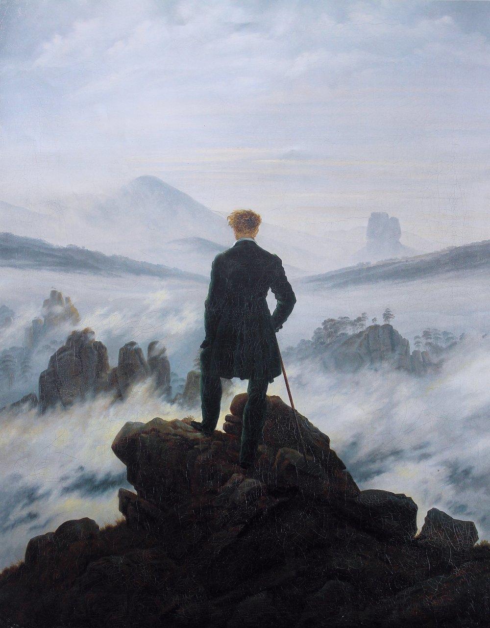Sublimity meets the subliminal.  Wanderer above the Sea of Fog  (German:  Der Wanderer über dem Nebelmeer ) c. 1818