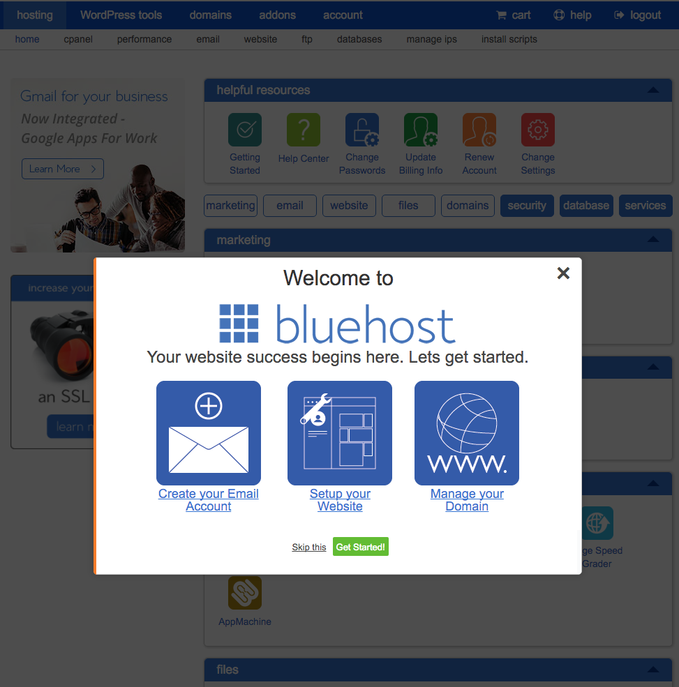 bluehost sign-up confirmation