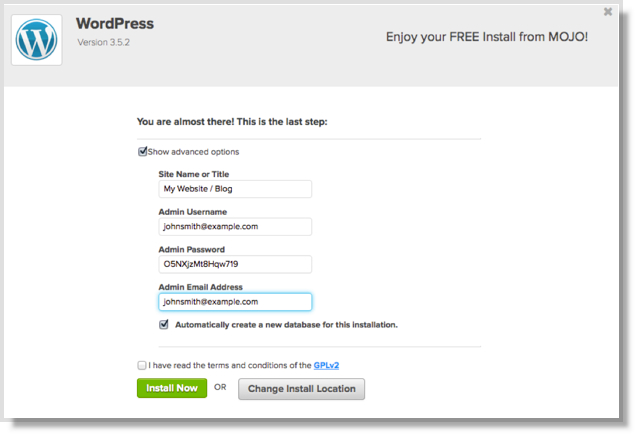 WordPress install information