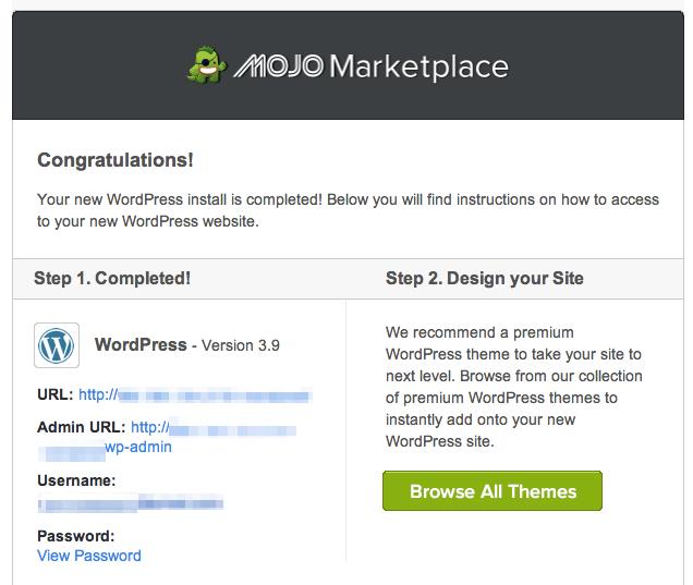 WordPress set-up complete