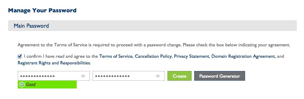 bluehost account password set-up