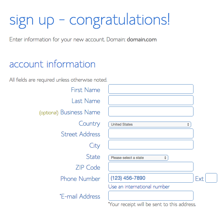 bluehost sign-up