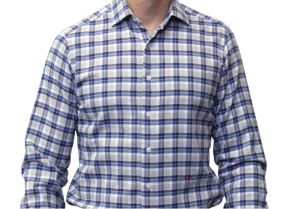 Blue grey checked shirt 120s flannel