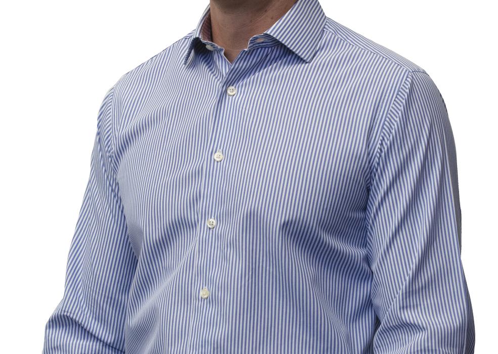 Blue striped shirt 140s 2ply cotton